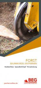 Die Titelseite des Flyers Forstdienstleistung – Baumwurzel entfernen.
