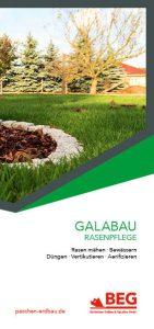 Die Titelseite des Flyers GaLaBau – Rasenpflege.