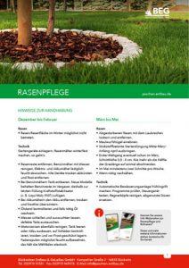 Die Titelseite des Flyers GaLaBau – Rasenpflege Infoblatt.