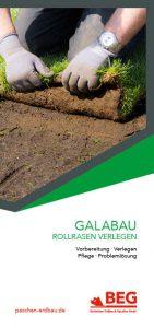 Die Titelseite des Flyers GaLaBau – Rollrasen verlegen.