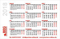 Der Kalender 2018 – Scheckkartenformat.