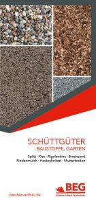 Die Titelseite des Flyers Schüttguter-Verkauf mit Anwendungen – Baustoffe, Gartenprodukte.